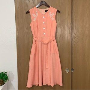 Voodoo Vixen Dress Peach Pocket Belted Retro Pinup